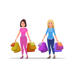 happy shopping girl or woman with bags big sale vector image