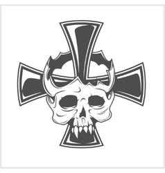 Skull and German cross vector image