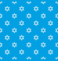 star of david pattern seamless blue vector image