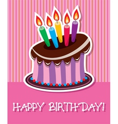 vector birthday chocolate cake with burning candle vector image