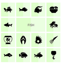 14 fish icons vector