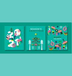 2021 holiday card set retro winter folk animal vector image