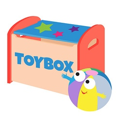 a happy ball next to a toybox vector image