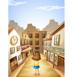 A little girl in the middle of the saloon bars vector
