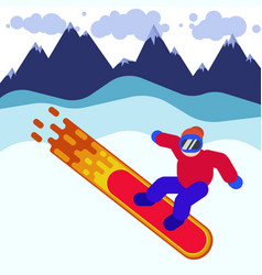a snowboarder in mask among vector image