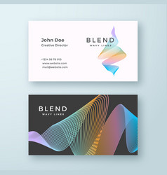 Abstract blend wavy business card template vector