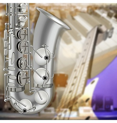 abstract music gray background with saxophone and vector image