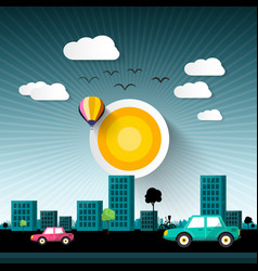 abstract sunset city with buildings and cars on vector image