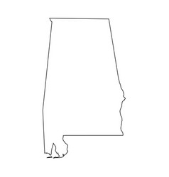 Alabama state of usa - solid black outline map of vector