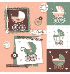 Baby scrapbook design elements with vintage prams vector