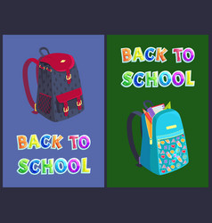 back to school bag posters set vector image