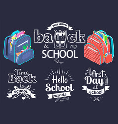 back to school concept black banner vector image