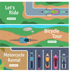banner city bicycle trails people driving bike vector image