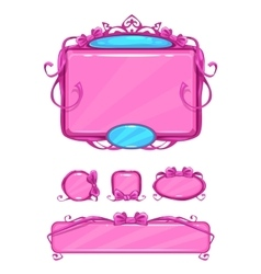 Beautiful girlish pink game user interface vector