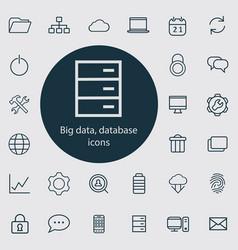 big data database outline thin flat digital vector image