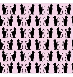 Black cat silhouette seamless pattern vector image