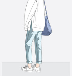 blue ladies bag and stylish outfit ready vector image