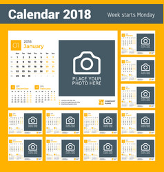 calendar for 2018 year design print template with vector image