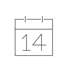 calendar with date february 14 linear icon on vector image
