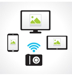 Camera wi-fi connect computer smartphone tablet pc vector