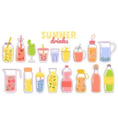Cartoon juice and lemonade refreshing summer vector