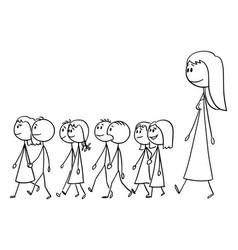 Cartoon kindergarten teacher on walk with vector