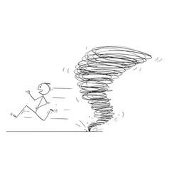 Cartoon man running away from tornado vortex vector