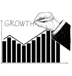 cartoon of histogram financial chart or graph and vector image