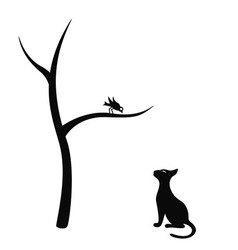 Cat and bird vector