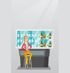 Caucasian woman sitting at the bar counter vector