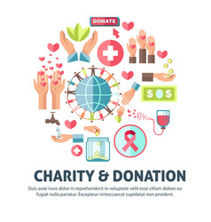Charity and donation symbols poster vector