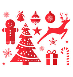 christmas symbols and decorations drawn in red vector image