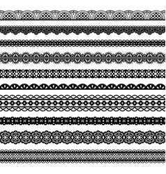 collection horizontal laces black seamless borders vector image