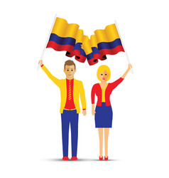 colombia flag waving man and woman vector image