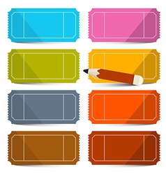 Colorful Empty Tickets Set with Pencil Isola vector image