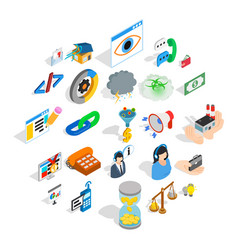 connection icons set isometric style vector image