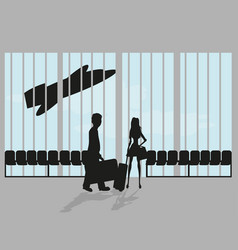 Couple on airport vector