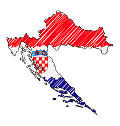 Croatia map hand drawn sketch concept vector