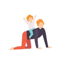 Cute little son riding on his fathers back dad vector