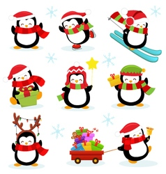 Cute Penguin Set vector image