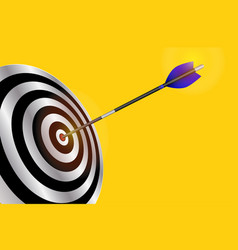 dart arrow hitting center of red target goal vector image