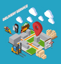 Delivery service isometric composition vector