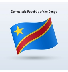 Democratic republic congo flag waving form vector