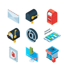 different postal symbols isometric pictures vector image