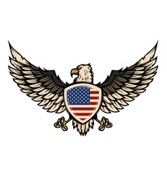 Eagle with american flag design element for vector