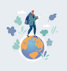 earth and man walks on vector image