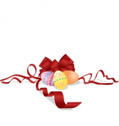 Easter eggs and bow vector image