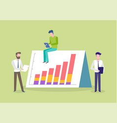 employees working board with rising chart vector image