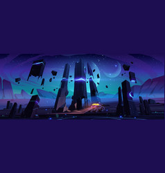 explorer robot on alien planet surface at night vector image