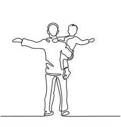 Father with son in his arms vector